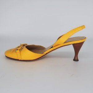 Kate Spade Lemon Yellow Sling Back Kitten Heels 6